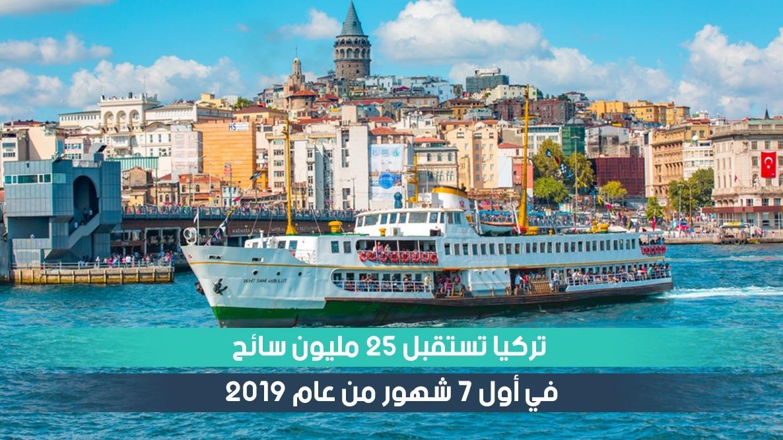 السياحة في تركيا 2019 :  25 مليون سائح خلال أول 7 أشهر من 2019