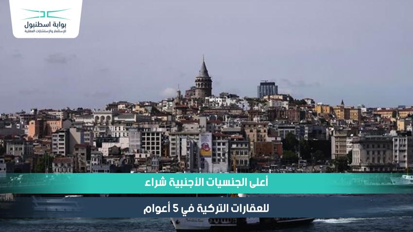 أعلى الجنسيات الأجنبية شراء للعقارات التركية في 5 أعوام