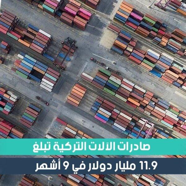 صادرات الآلات التركية تبلغ 11.9 مليار دولار في 9 أشهر