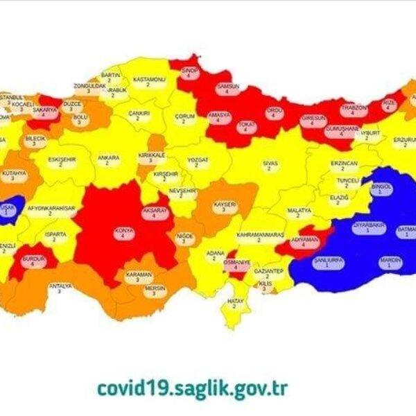 4 فئات لكورونا في مناطق تركيا.. خريطة التصنيف
